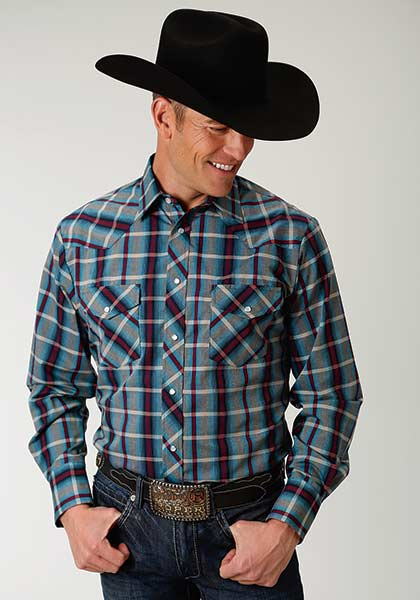 4a5916df9 Roper Blues and Maroon Plaid Snapped Shirt