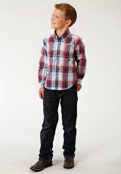 Roper Independence Plaid Long Sleeve Boy's Shirt