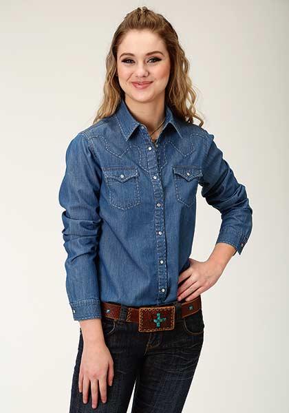 068277ef84 Roper Faded Denim Ladies Snap Shirt.  63.99. Faded blue denim western long  sleeve shirt with saddle stitching ...