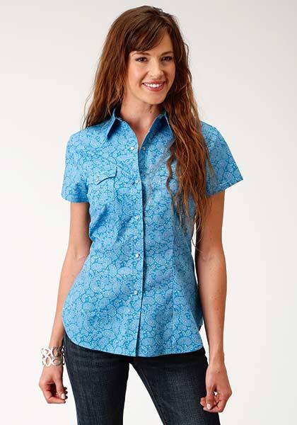 065e1f6a98 Roper Blue Short Sleeve Snap Shirt