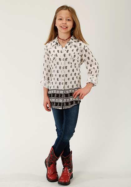 Roper Girls Western Paisley Snap Shirt
