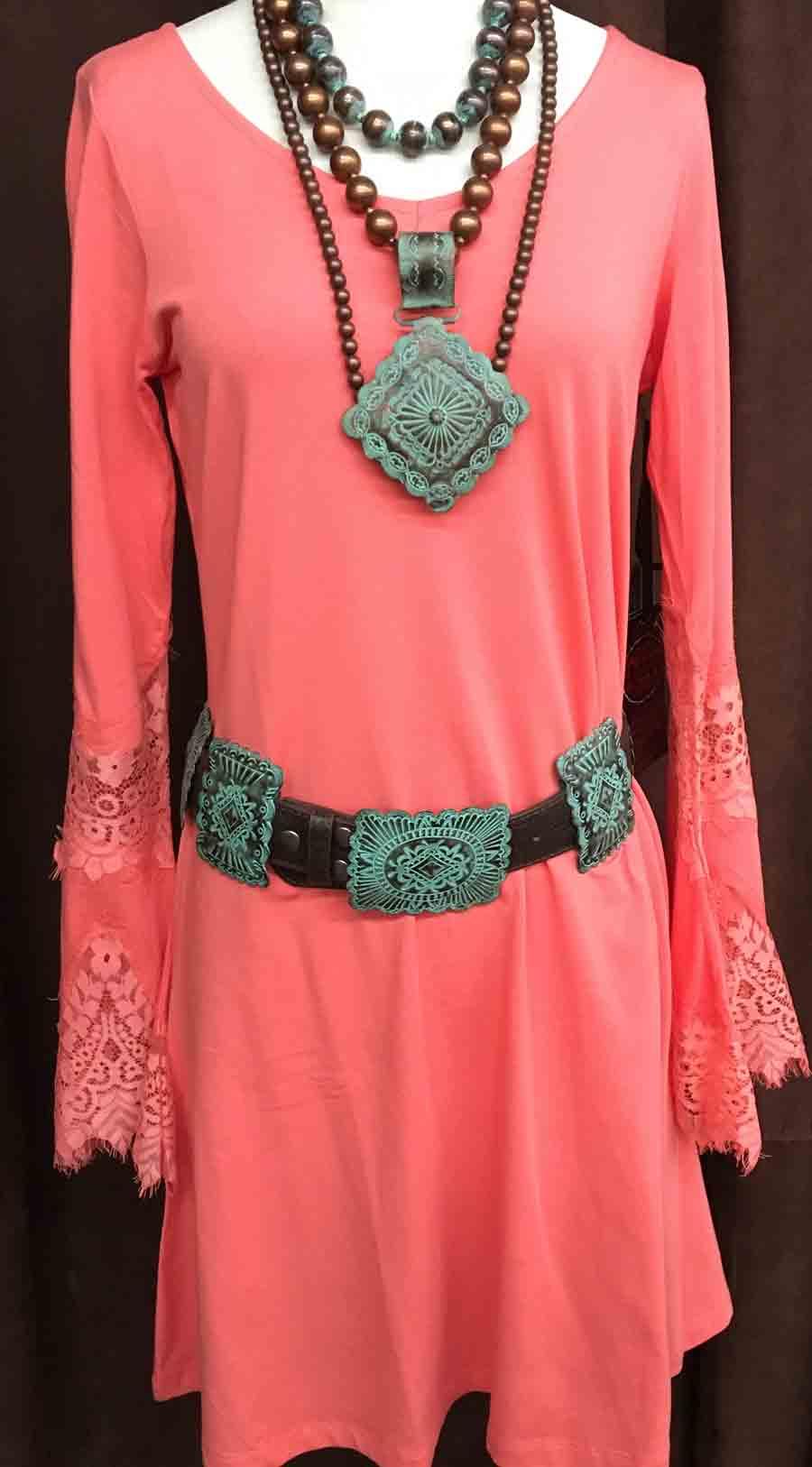3ebdaf3b Cowgirl Tuff Coral Jersey Sheath Dress   Dry Creek Western Wear