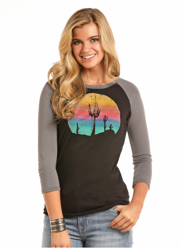 3115547ee181bc Rock and Roll Cowgirl Cactus Graphic Baseball Tee | Dry Creek ...