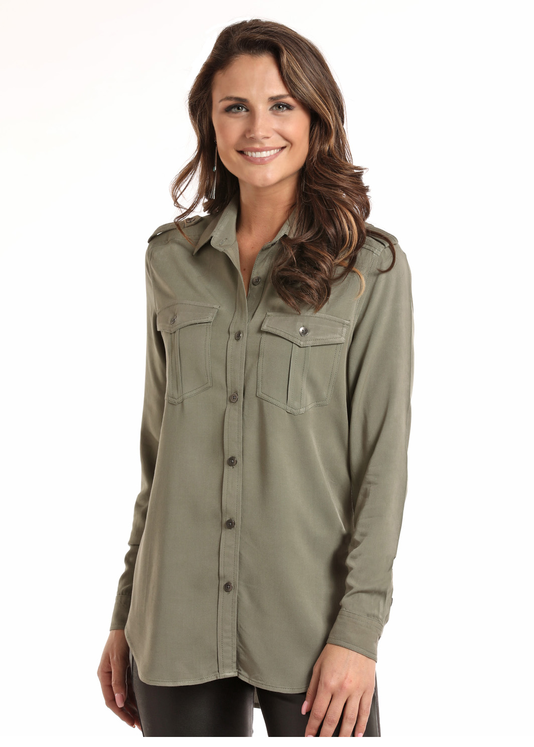 Rock And Roll Cowgirl Ladies Military Style Shirt Dry Creek