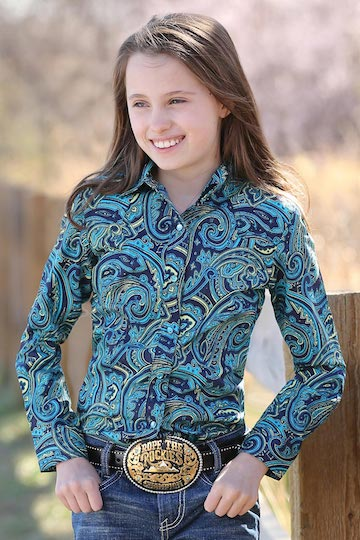 Cruel Girls Navy and Teal Paisley Print Long Sleeve Shirt