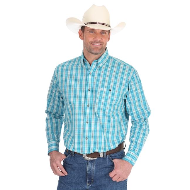 e3f2b4f1b2 Wrangler® Turquoise and Blue Plaid Shirt.  35.99  28.00. Wrangler® Classics  Long Sleeve ...
