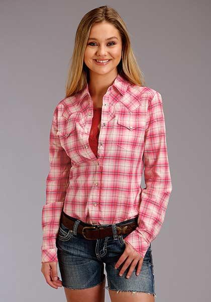 Roper Pink, Blue and Cream Plaid Shirt