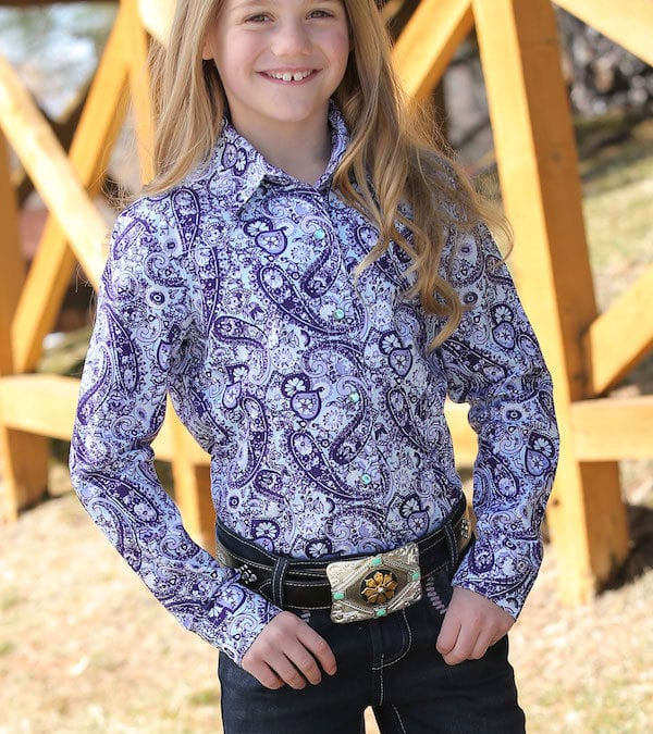 Cruel Girls Purple Paisley and Floral Western Shirt