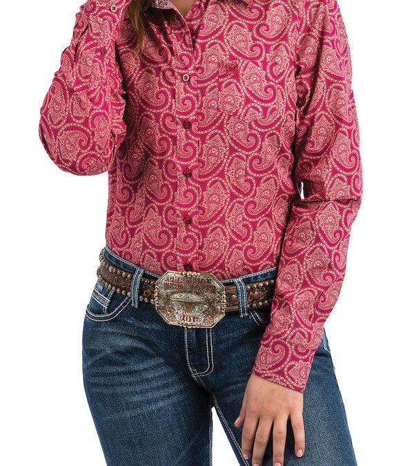 Cinch Ladies Raspberry with Paisley Shirt