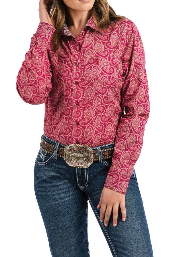 ce4b4d8c88 Cinch Ladies Raspberry with Paisley Shirt