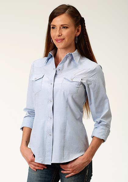 Roper Blue Square Tone on Tone Long Sleeve Shirt