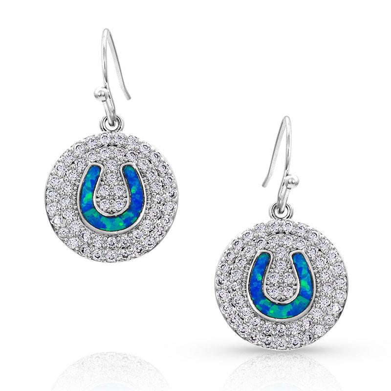 Montana Silversmith Medallion Horseshoe Opal Earrings