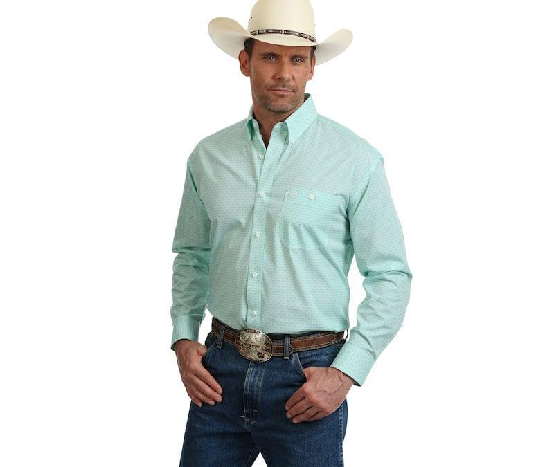 Wrangler® George Strait Light Green and White Long Sleeve Shirt