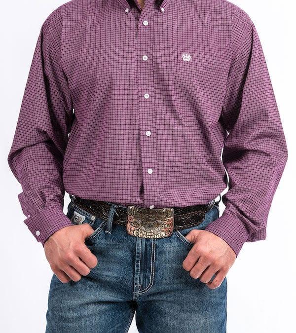 Cinch Purple Square Mens Long Sleeve Shirt