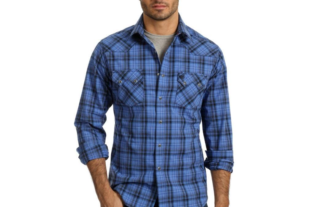 Wrangler® Retro Blue and Black Plaid Snap Shirt