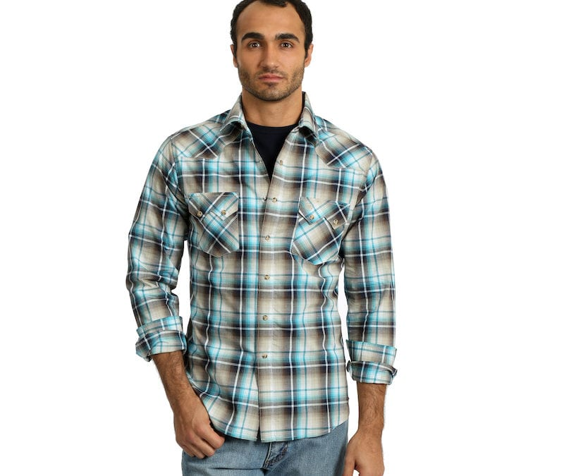 Wrangler® Retro Brown and Turquoise Plaid Snap Shirt