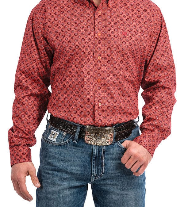 Cinch Coral, Burgundy and Red Medallion Print Long Sleeve Shirt