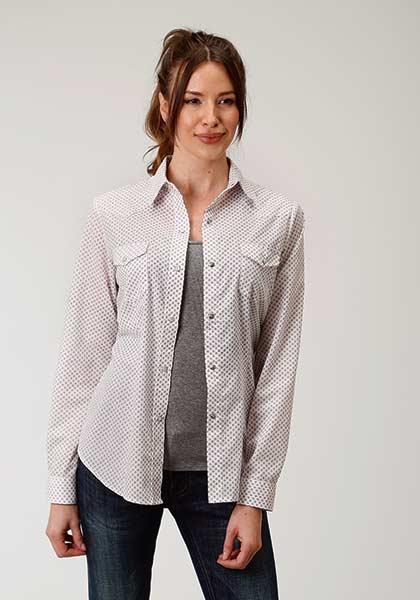 Roper® White and Wine Diamond Print Snap Shirt