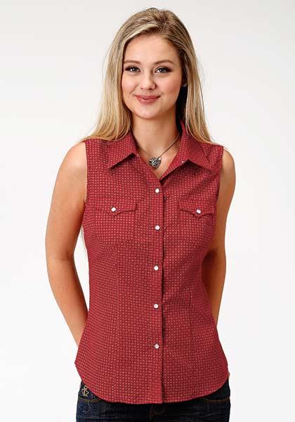 Roper® Red Bandana Print Sleeveless Shirt