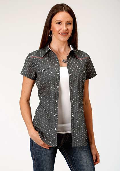Roper® Astrial Paisley Gray Short Sleeve Shirt