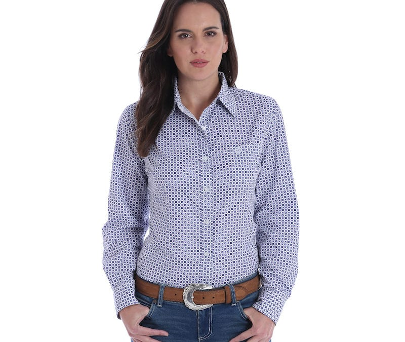 Wrangler® George Strait® White/Purple Long Sleeve Shirt