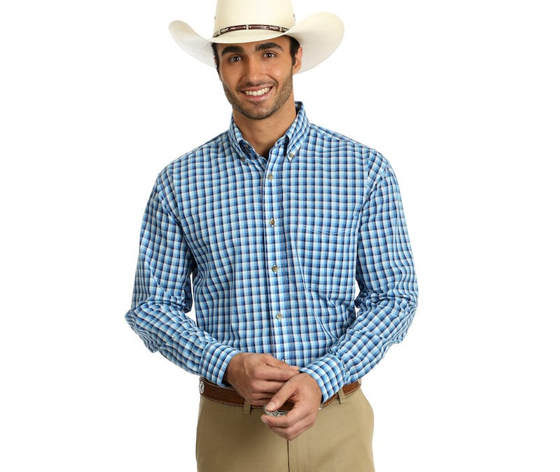 Wrangler® Easy Care Blue and White Plaid Long Sleeve Shirt