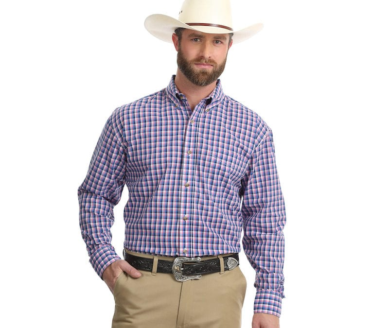 Wrangler® Easy Care Pink and Blue Plaid Long Sleeve Shirt