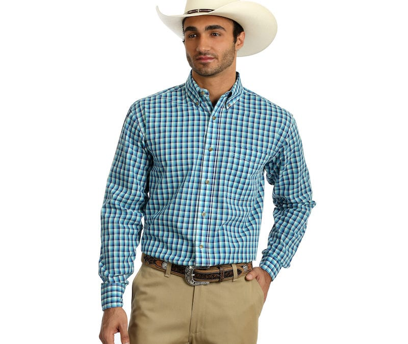 Wrangler® Easy Care Turquoise Plaid Long Sleeve Shirt