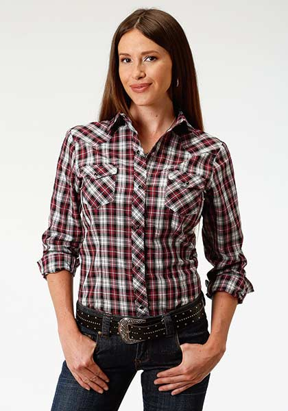 Roper Red, White and Black Plaid Long Sleeve Snap Shirt