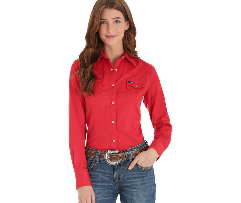 Wrangler® Red Western Long Sleeve Snap Shirt