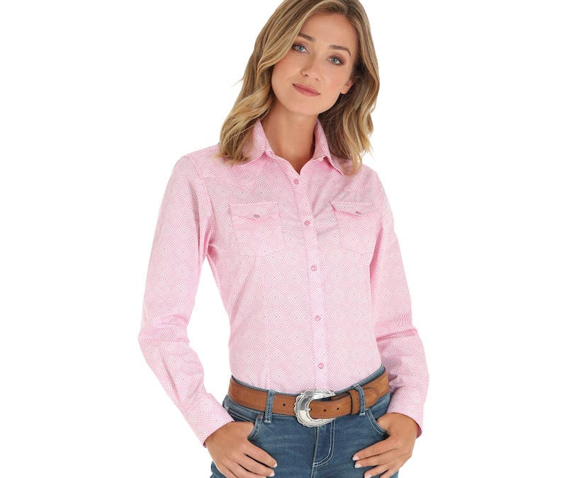 Wrangler® Pink Geometric Pattern Long Sleeve Snap Shirt