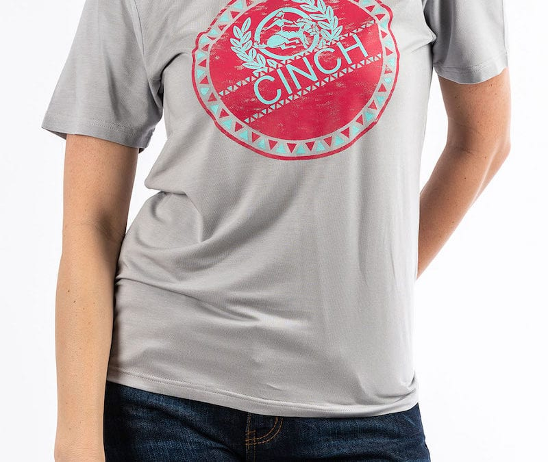 Cinch® Gray Tee with Pink and Turquoise Cinch Logo Screen Print
