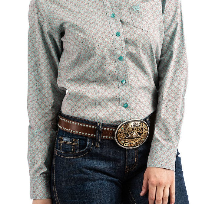 Cinch® Light Turquoise, Coral and Rose Pink Long Sleeve Shirt