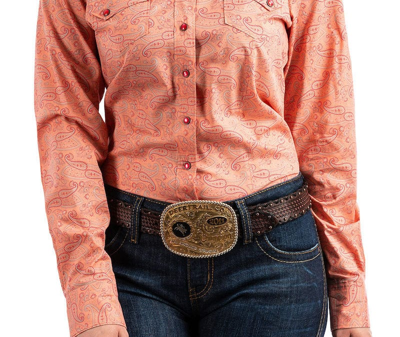 Cinch® Coral Paisley Print Long Sleeve Snap Shirt