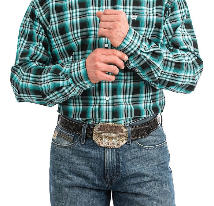 Cinch® Turquoise and Black Plaid Long Sleeve Shirt