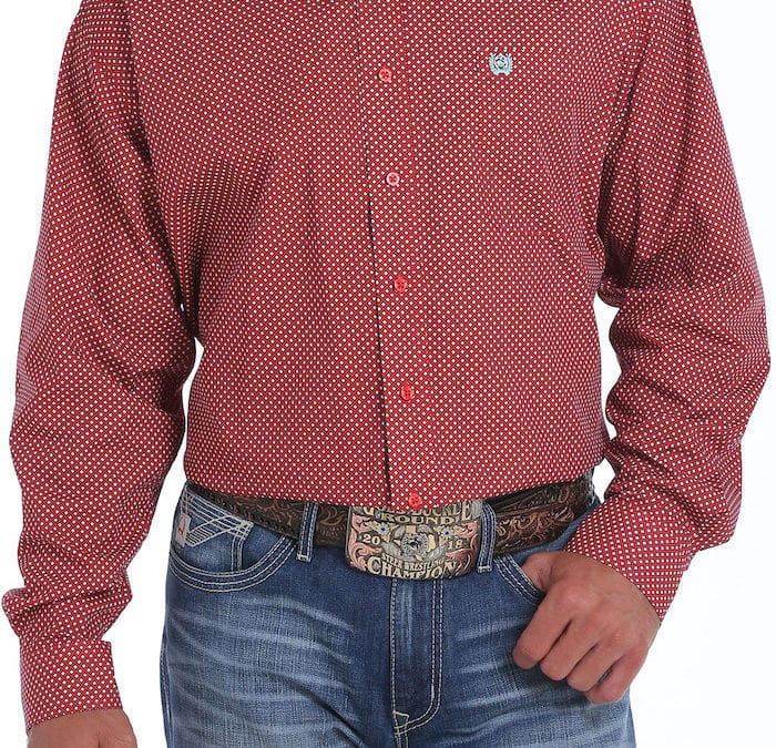 Cinch® Red and Silver Square Long Sleeve Shirt
