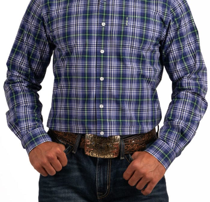 Cinch® Blue, Lime and White Plaid Long Sleeve Modern Fit Shirt