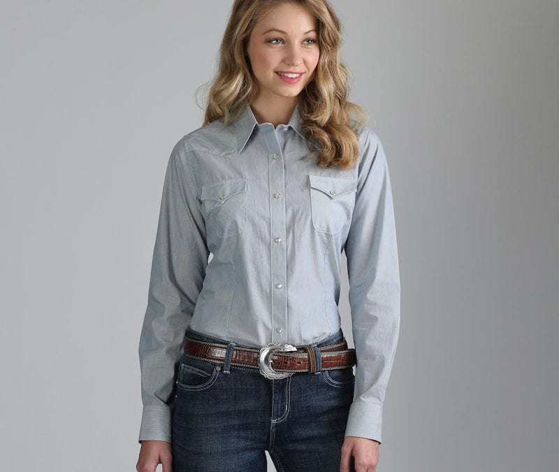 Wrangler® As Real As Blue and White Striped Shirt