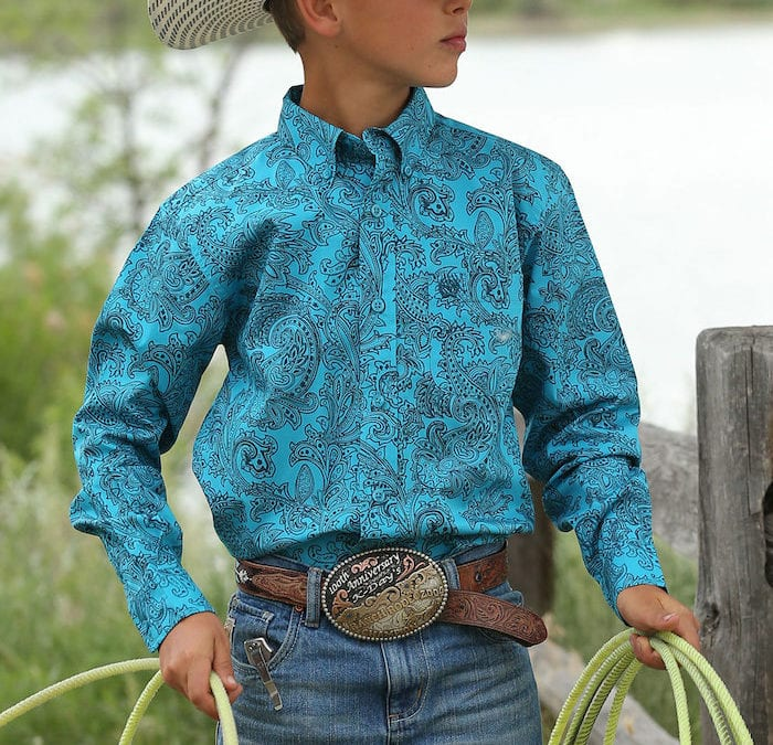 Cinch Teal and Navy Paisley Long Sleeve Shirt
