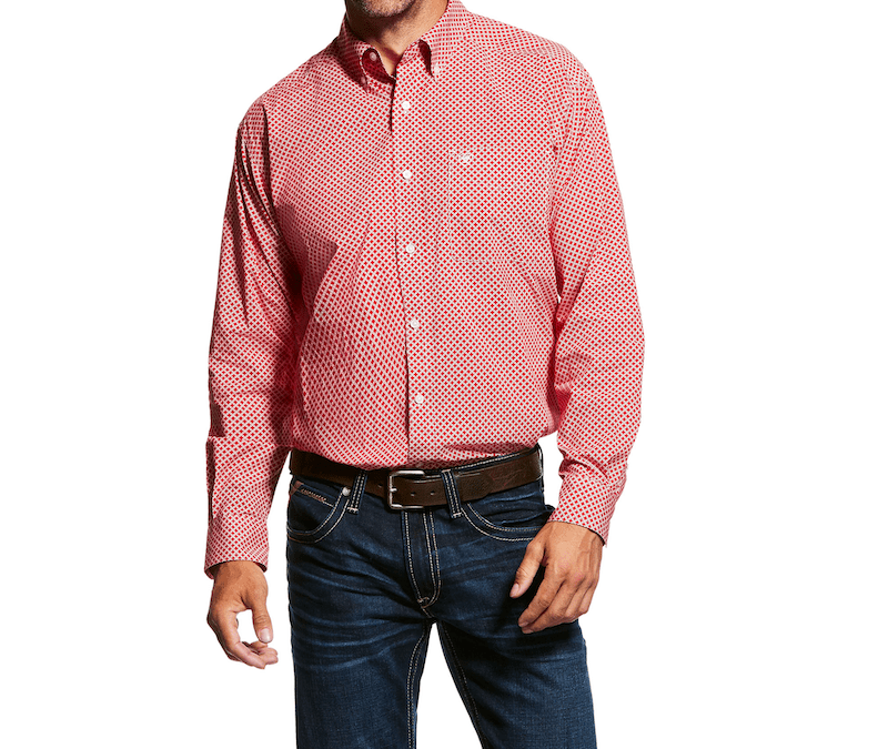 Ariat® Crimson Flame Garry LS Print Mens Shirt