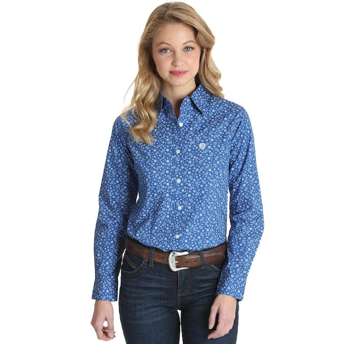 Wrangler® George Strait For Her Blue and White Paisley Shirt