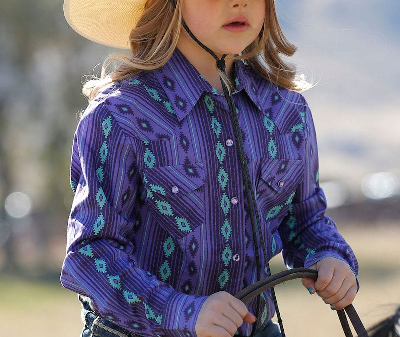 Cruel® Girls Purple and Green Southwest Print Snap Shirt