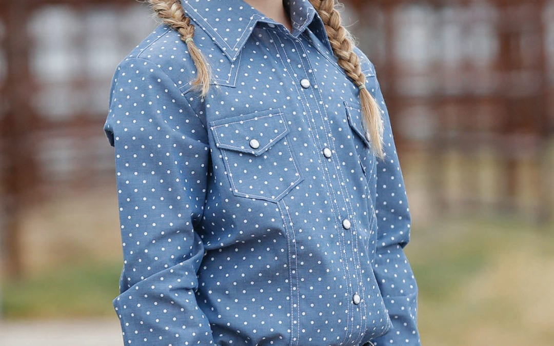 Cruel Girls Blue with White Polka Dot Western Snap Shirt