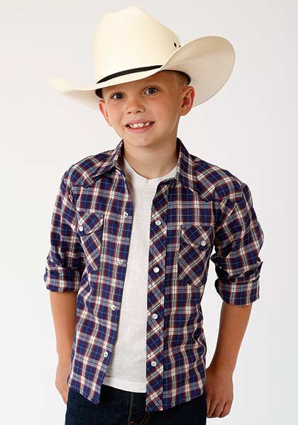 Roper® Blue, Red, White and Tan Plaid Long Sleeve Snap Shirt