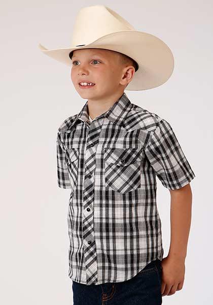 Roper® Black and white Plaid Long Sleeve Snapped Shirt