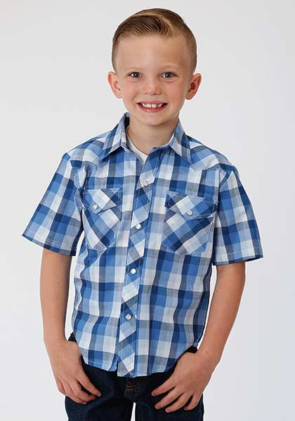 Roper® Blues and White Plaid Short Sleeve Snapped Shirt