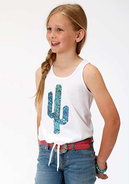 Roper® White Cotton Tank with Sequin Cactus on Front