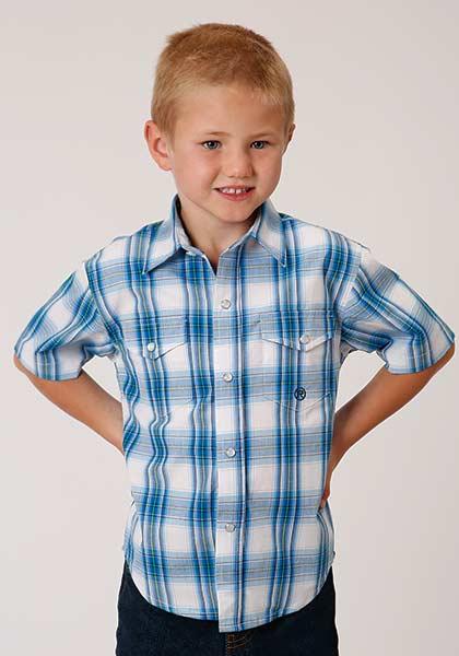 Roper® Blues, Green, and White Plaid Short Sleeve Snap Shirt