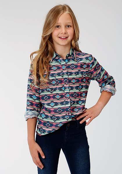 Roper® Navy Aztec Print Long Sleeve Snap Shirt