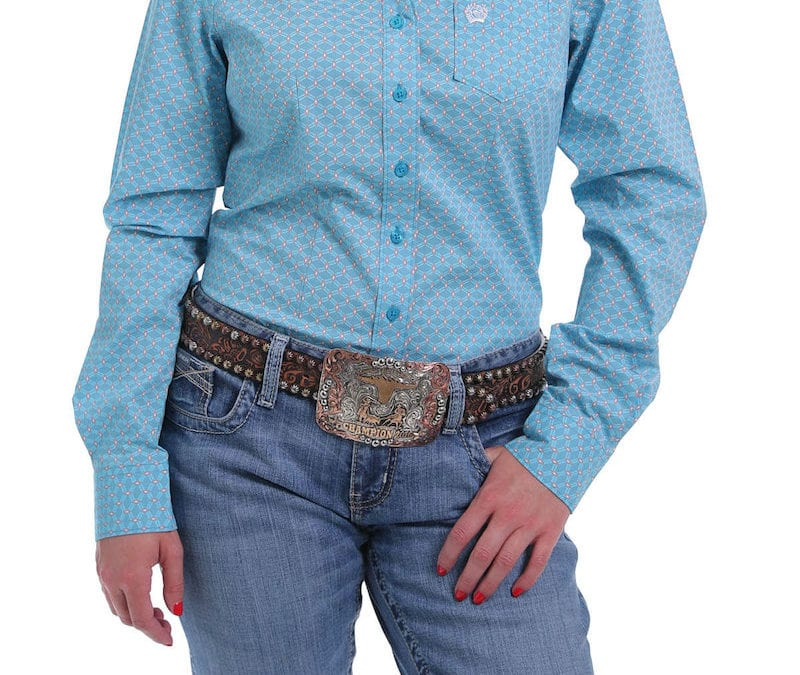 Cinch® Egg Shell Blue and Peach Long Sleeve Shirt